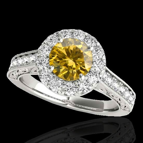 2.22 CTW Certified Fancy Intense Diamond Solitaire Halo