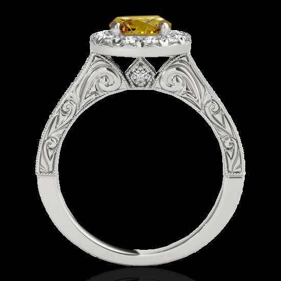2.22 CTW Certified Fancy Intense Diamond Solitaire Halo - 2