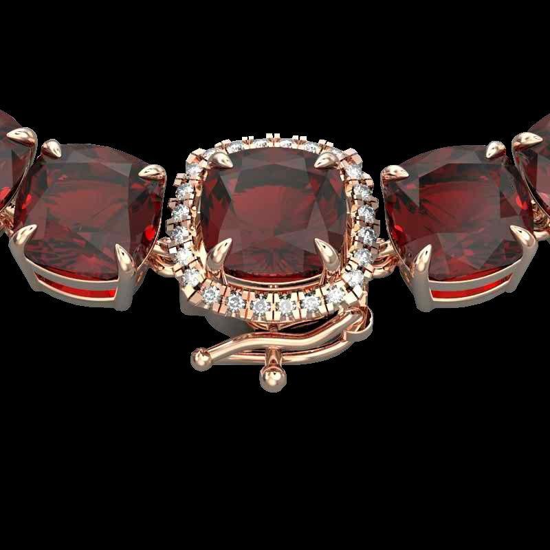 87 CTW Garnet & Diamond Halo Micro Eternity Necklace