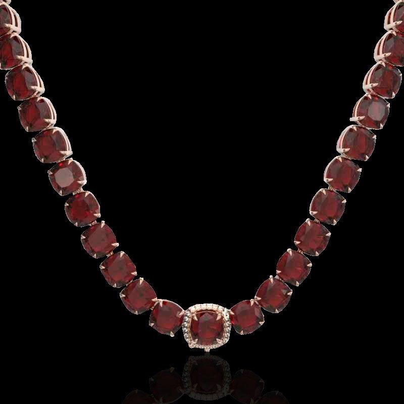 87 CTW Garnet & Diamond Halo Micro Eternity Necklace - 2