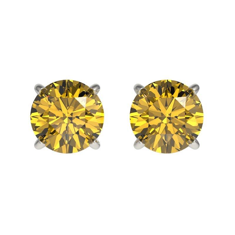 1.0 CTW Certified Intense Yellow Diamond Solitaire Stud