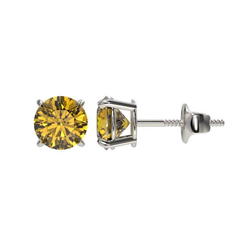 1.0 CTW Certified Intense Yellow Diamond Solitaire Stud - 2