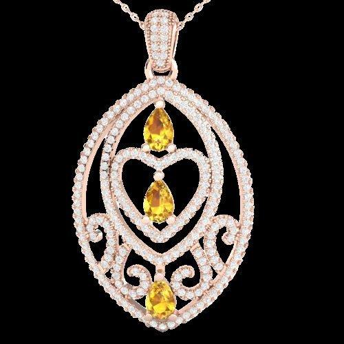 3.50 CTW Yellow Sapphire & Micro Pave Diamond Heart
