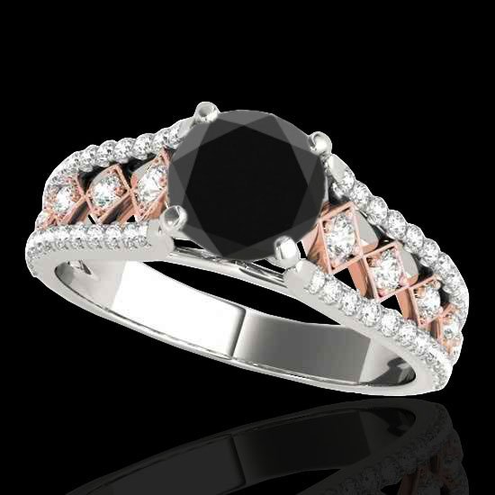 1.45 CTW Certified Black Diamond Solitaire Ring Two