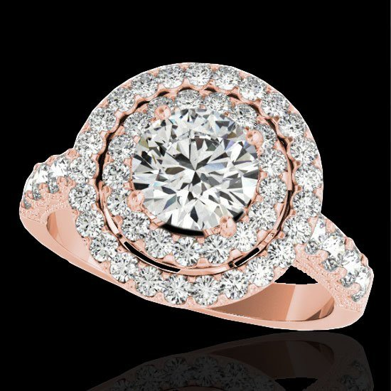 2.25 CTW Certified G-I Diamond Bridal Solitaire Halo