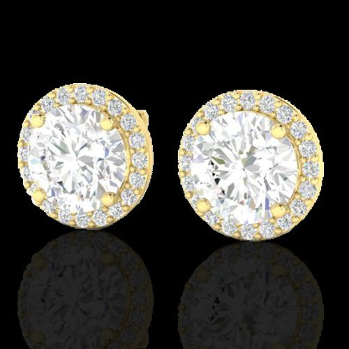 4.0 CTW Halo Diamond Certified Micro Pave Earrings