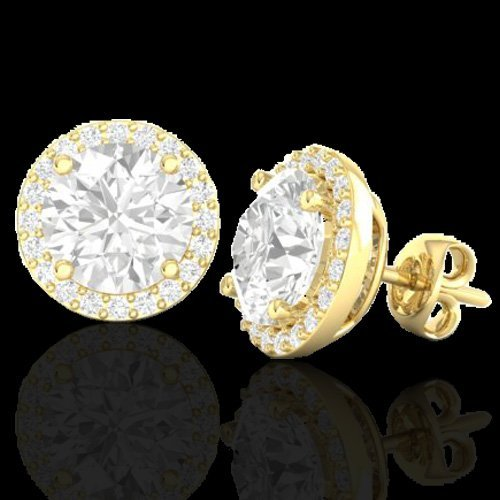4.0 CTW Halo Diamond Certified Micro Pave Earrings - 2