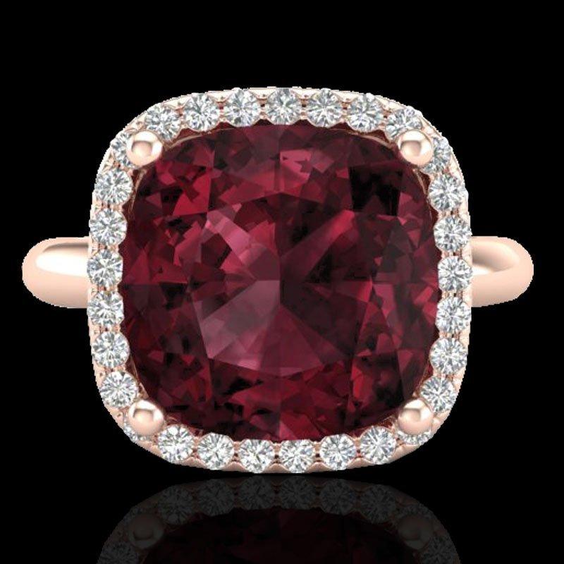 6.0 CTW Garnet And Micro Pave Halo Diamond Ring