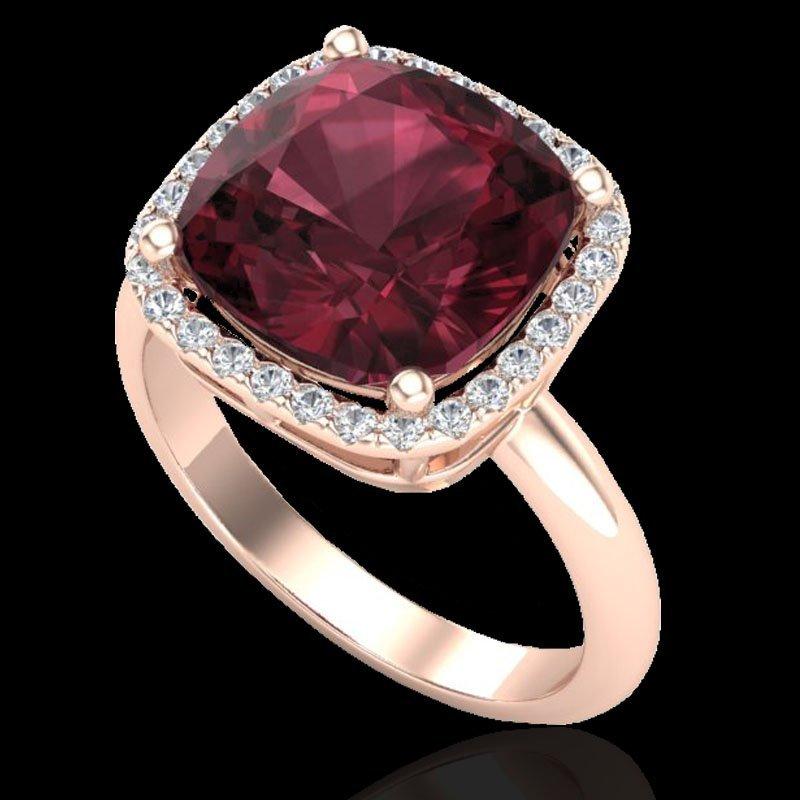 6.0 CTW Garnet And Micro Pave Halo Diamond Ring - 2