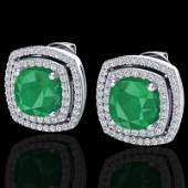 30 CTW Emerald  Micro Pave Diamond Certified Halo