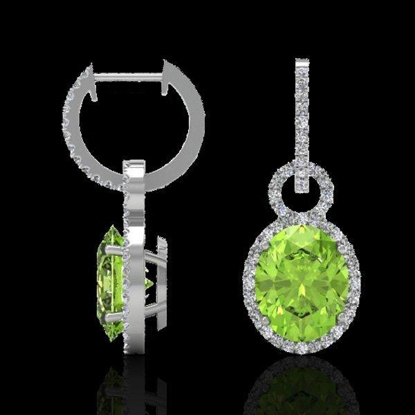 6.0 CTW Peridot & Micro Pave Solitaire Halo Diamond - 2