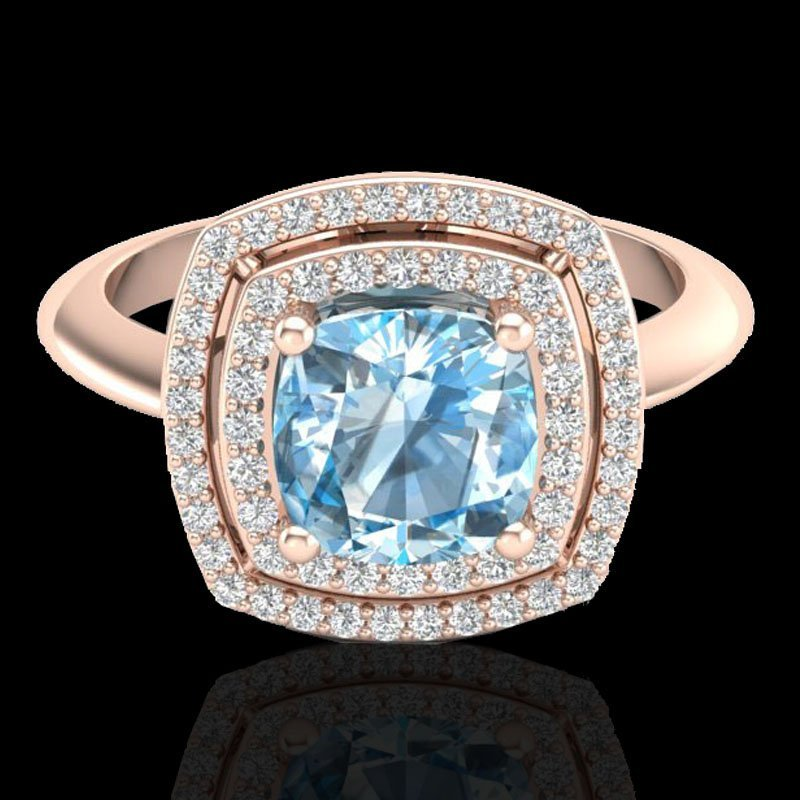 2.02 CTW Sky Blue Topaz & Micro Diamond Halo Ring 14K