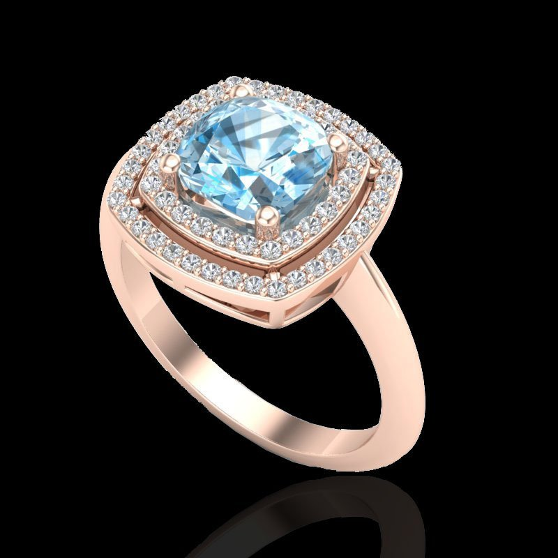 2.02 CTW Sky Blue Topaz & Micro Diamond Halo Ring 14K - 2