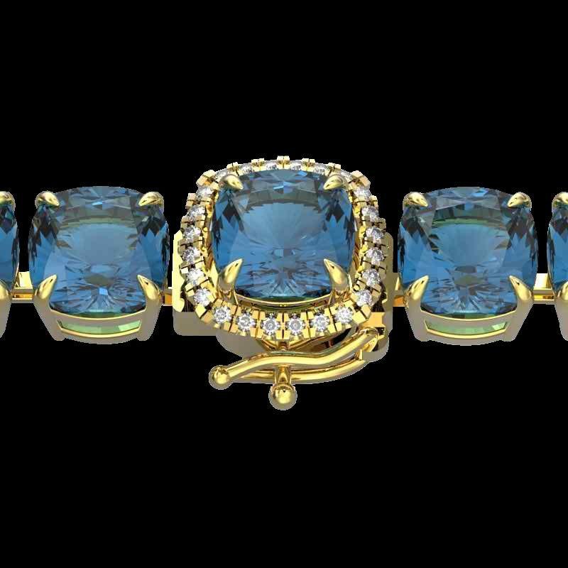 35 CTW London Blue Topaz & Micro Diamond Halo Bracelet