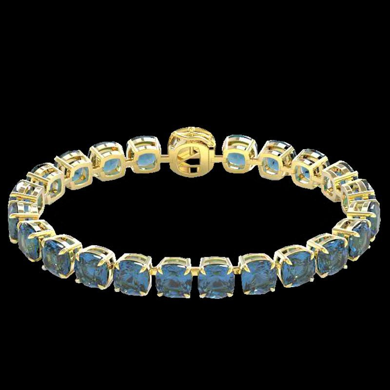 35 CTW London Blue Topaz & Micro Diamond Halo Bracelet - 2