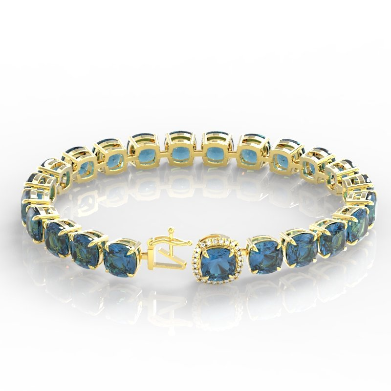 35 CTW London Blue Topaz & Micro Diamond Halo Bracelet - 3