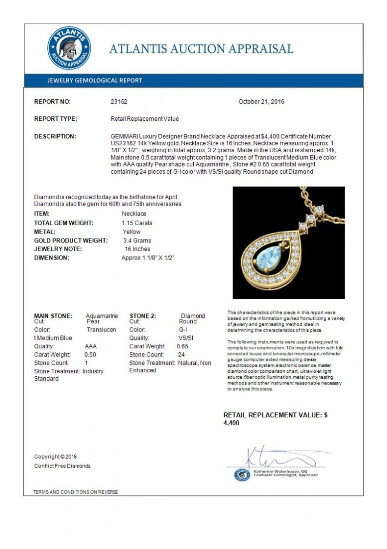 1.15 CTW Aquamarine & Micro Pave Diamond Necklace - 3