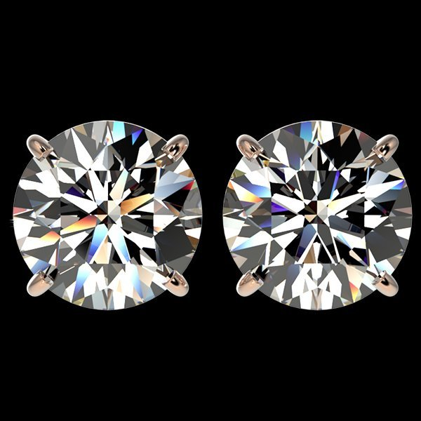 4 CTW Quality Diamond Solitaire Stud Earring Gold