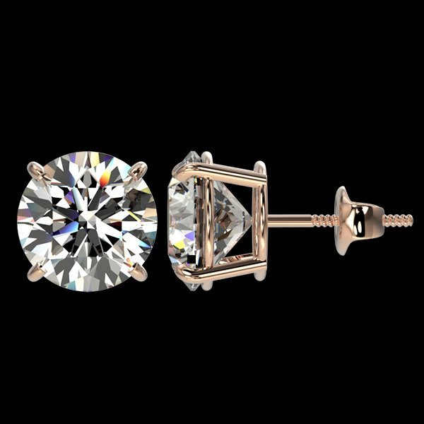 4 CTW Quality Diamond Solitaire Stud Earring Gold - 2