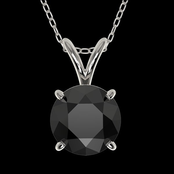 1.25 CTW Fancy Black Diamond Bridal Solitaire Necklace
