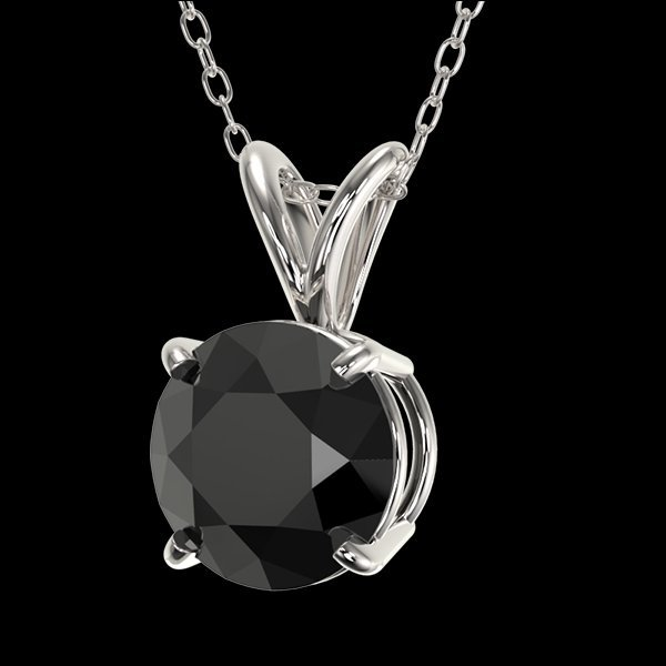 1.25 CTW Fancy Black Diamond Bridal Solitaire Necklace - 2