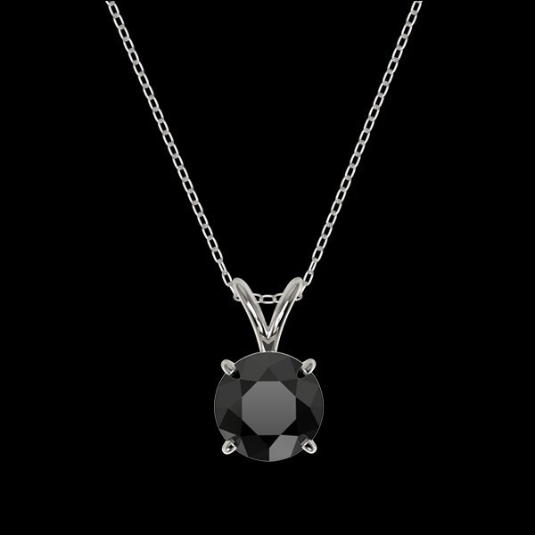 1.25 CTW Fancy Black Diamond Bridal Solitaire Necklace - 3