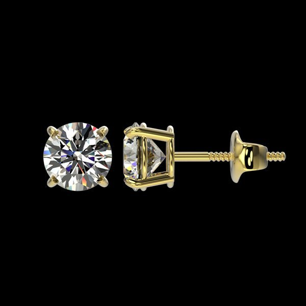 1.04 CTW Quality Diamond Solitaire Stud Earring Gold - 2