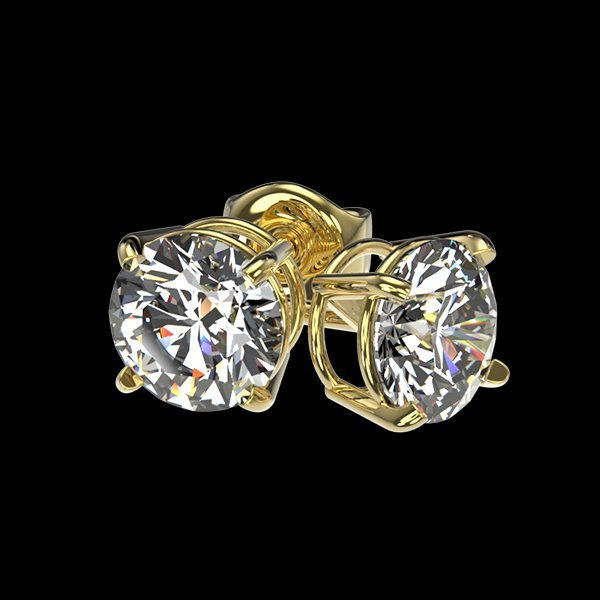 1.04 CTW Quality Diamond Solitaire Stud Earring Gold - 3
