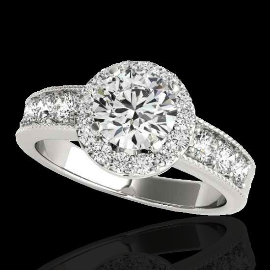 2.1 CTW Diamond Bridal Solitaire Halo Ring Gold
