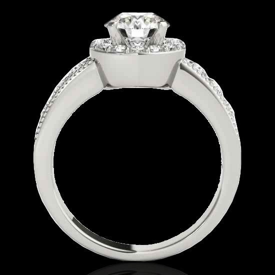 2.1 CTW Diamond Bridal Solitaire Halo Ring Gold - 2