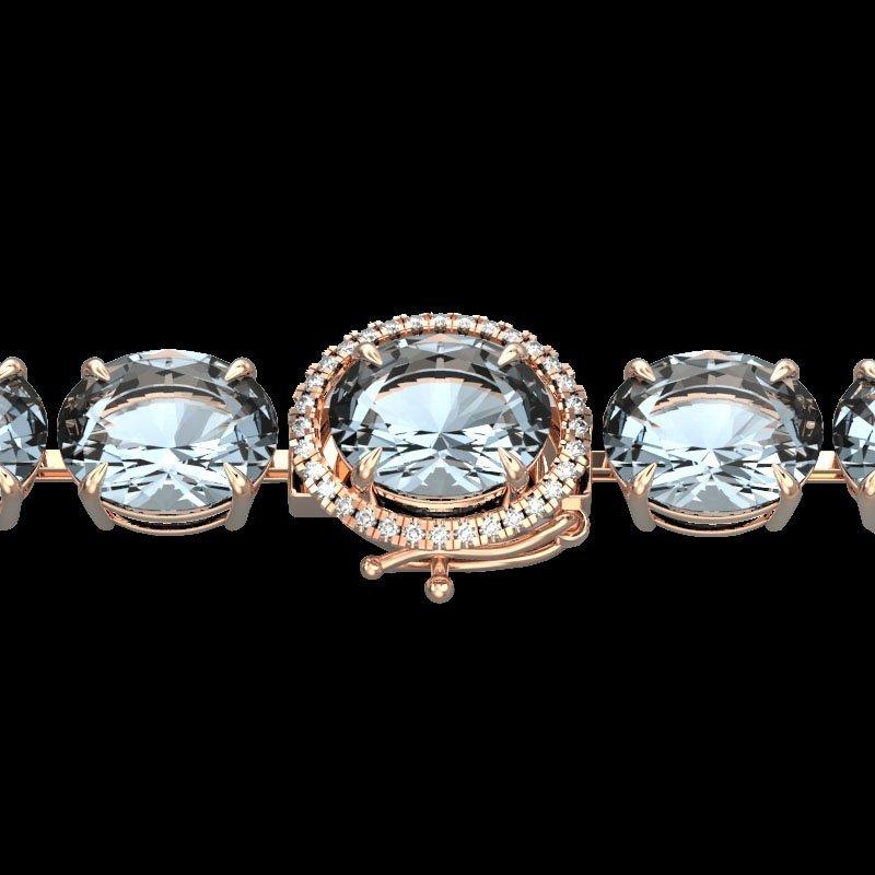 79 CTW Sky Blue Topaz & Micro Diamond Halo Bracelet 14K