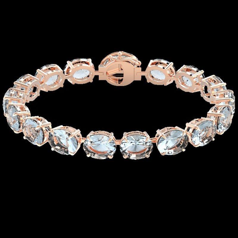 79 CTW Sky Blue Topaz & Micro Diamond Halo Bracelet 14K - 2