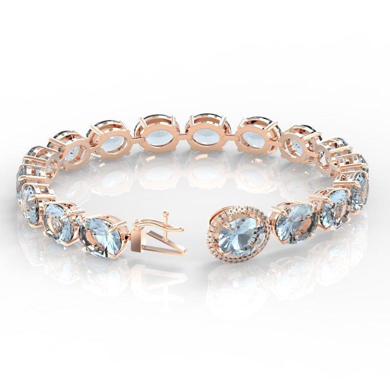 79 CTW Sky Blue Topaz & Micro Diamond Halo Bracelet 14K - 3