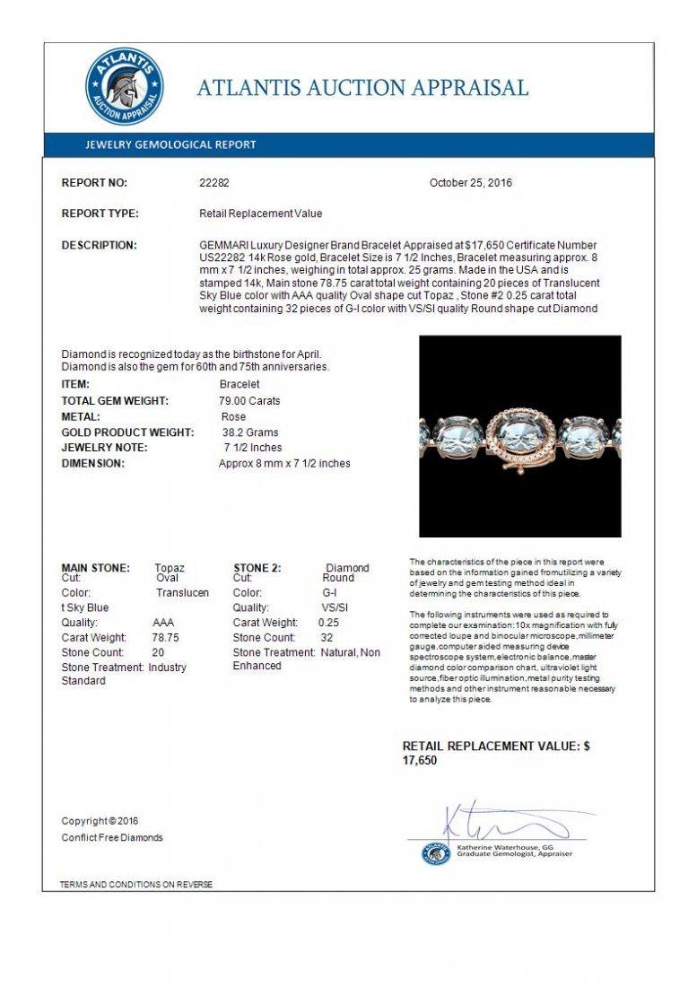 79 CTW Sky Blue Topaz & Micro Diamond Halo Bracelet 14K - 4