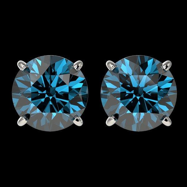 3.15 CTW Intense Blue Diamond Solitaire Stud Earring