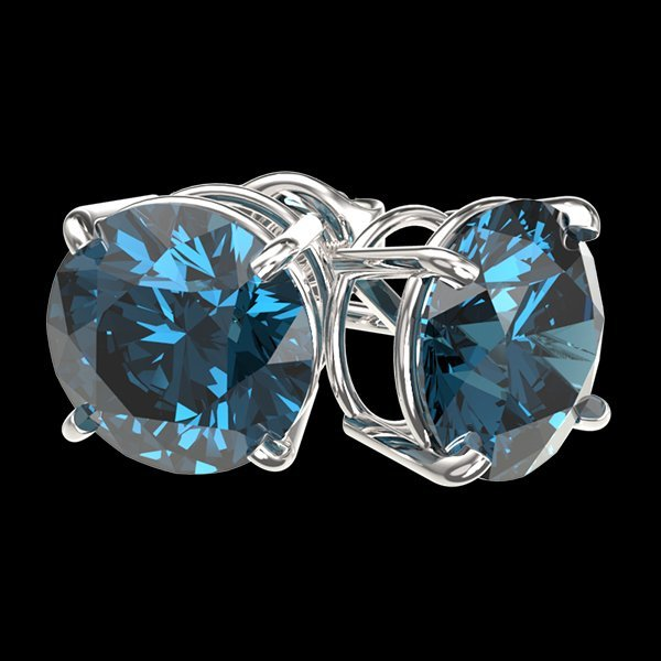 3.15 CTW Intense Blue Diamond Solitaire Stud Earring - 3