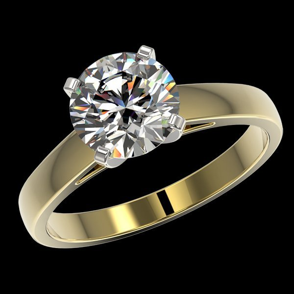 2.05 CTW Quality Diamond Solitaire Engagment Ring Gold - 2