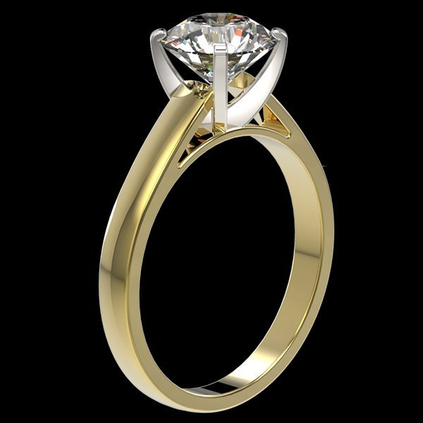 2.05 CTW Quality Diamond Solitaire Engagment Ring Gold - 3