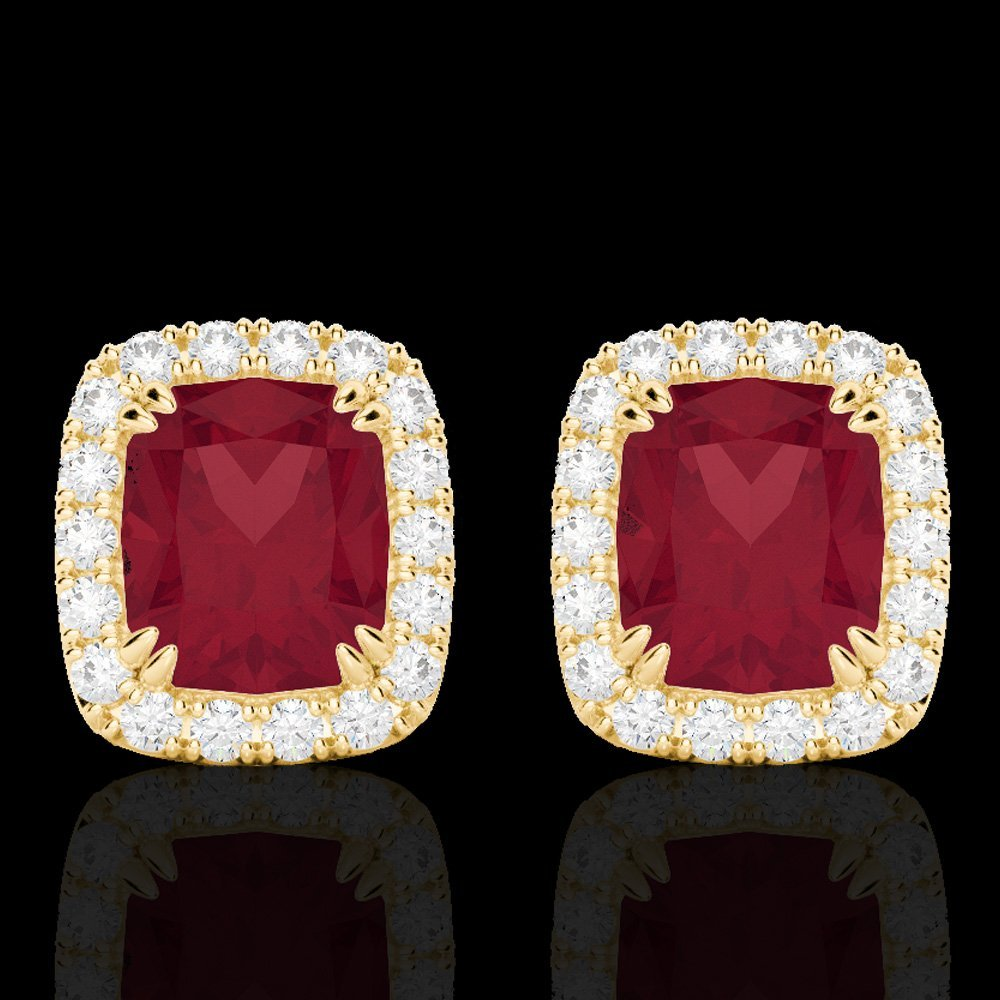 2.50 CTW Ruby & Micro Pave Diamond Halo Earring Gold