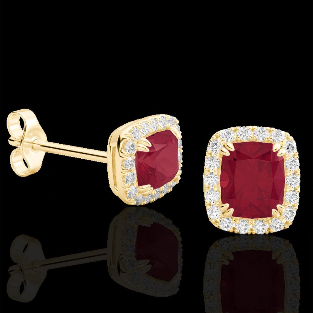 2.50 CTW Ruby & Micro Pave Diamond Halo Earring Gold - 2