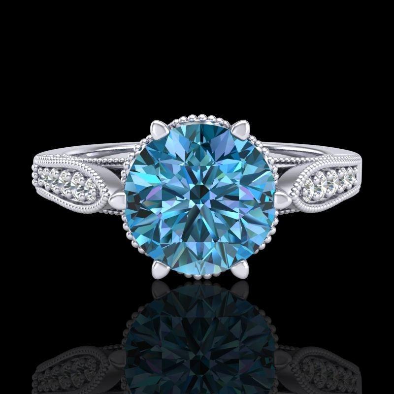 2.2 CTW Intense Blue Diamond Solitaire Engagment Art - 2