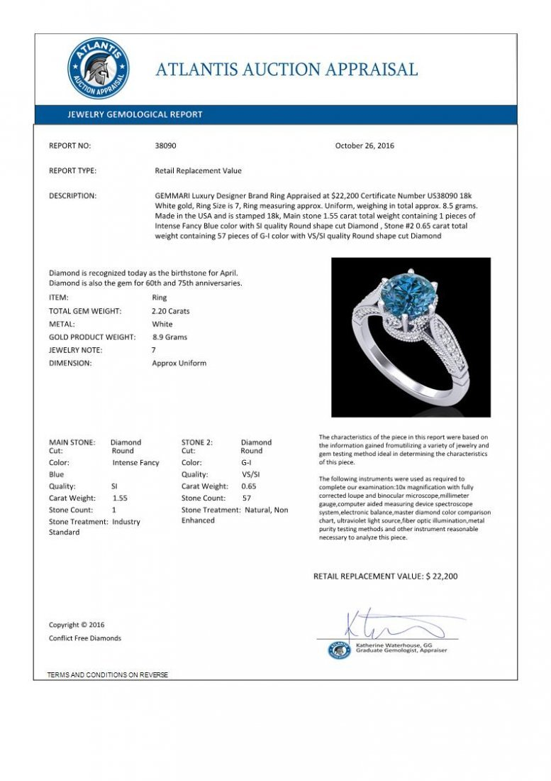 2.2 CTW Intense Blue Diamond Solitaire Engagment Art - 4