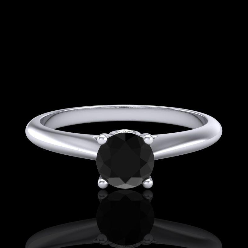 0.4 CTW Fancy Black Diamond Solitaire Engagment Art - 2