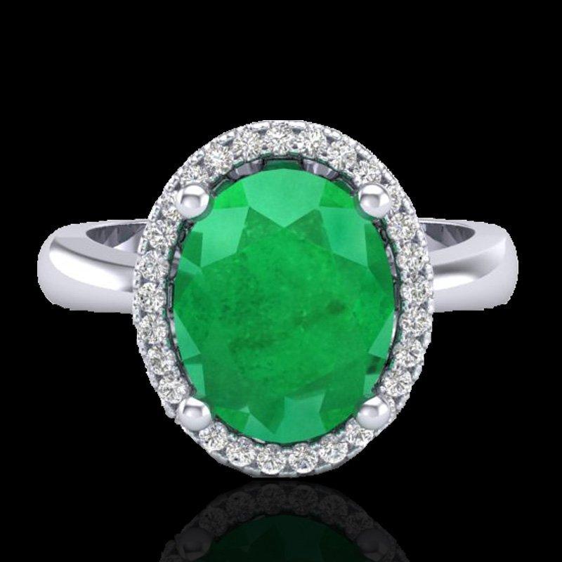 3 CTW Emerald & Micro Pave Diamond Ring Halo 18K Gold