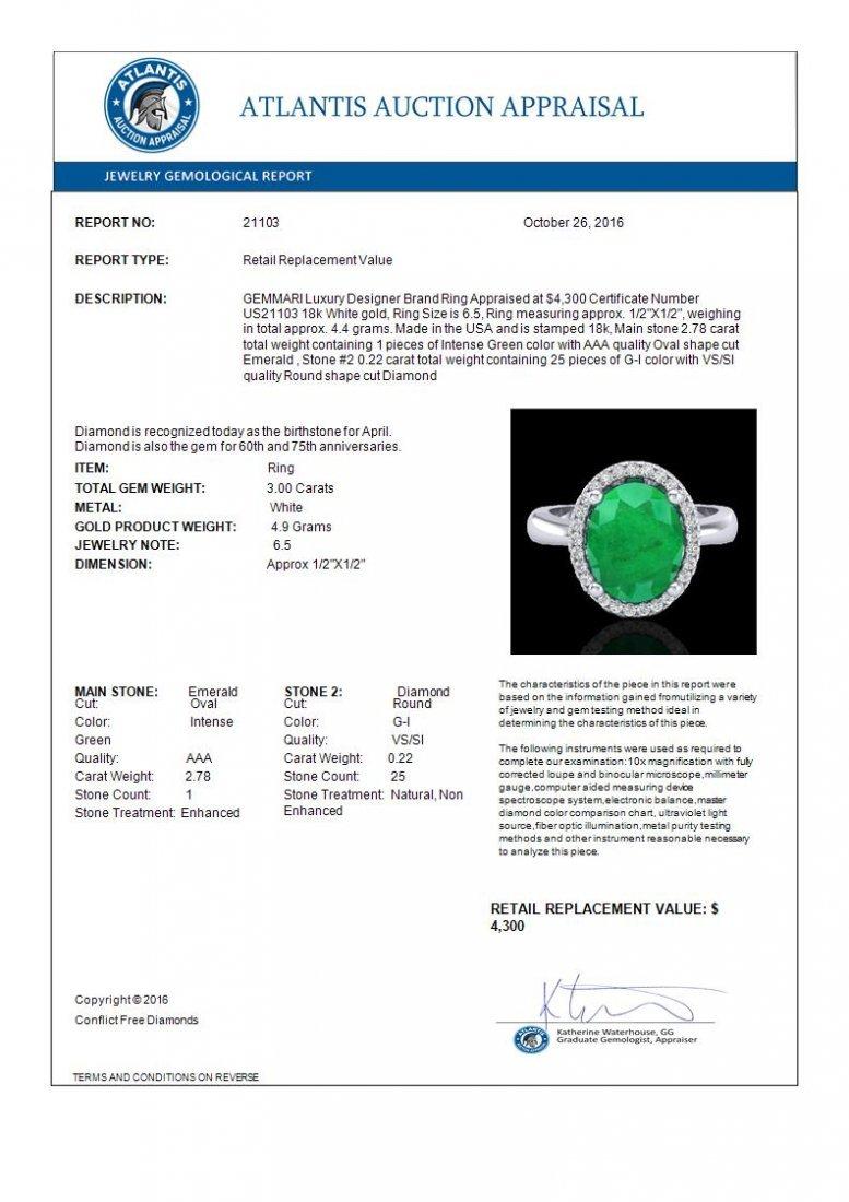 3 CTW Emerald & Micro Pave Diamond Ring Halo 18K Gold - 3
