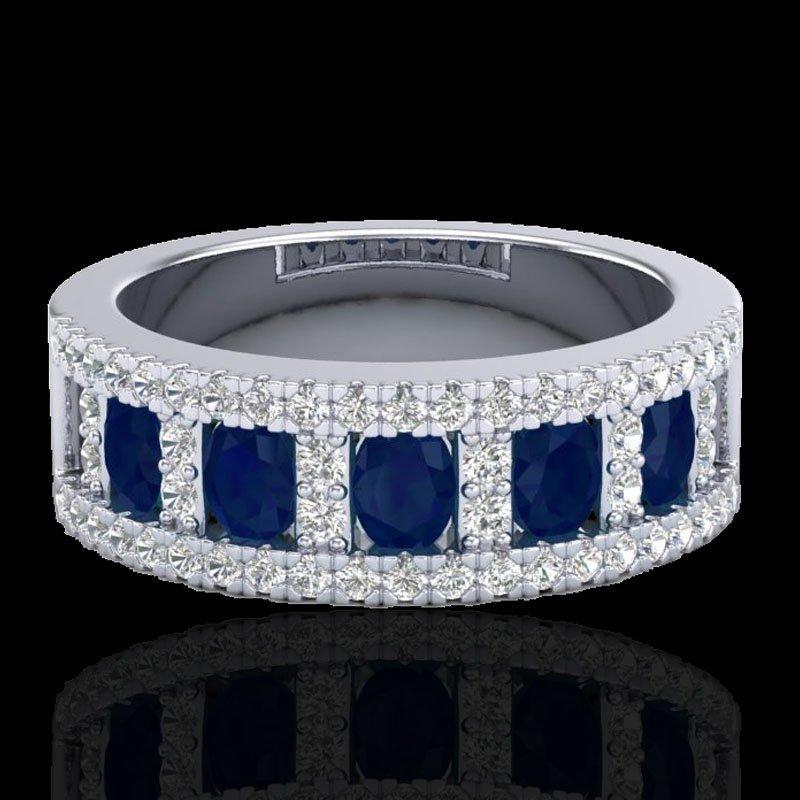 2.34 CTW Sapphire & Micro Pave Diamond Inspired Ring