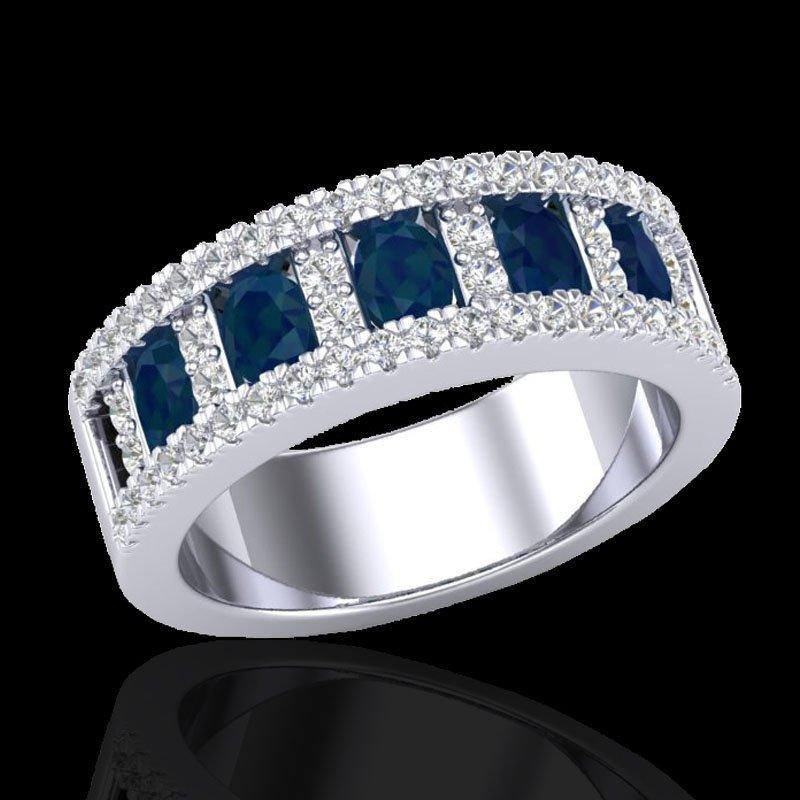 2.34 CTW Sapphire & Micro Pave Diamond Inspired Ring - 2