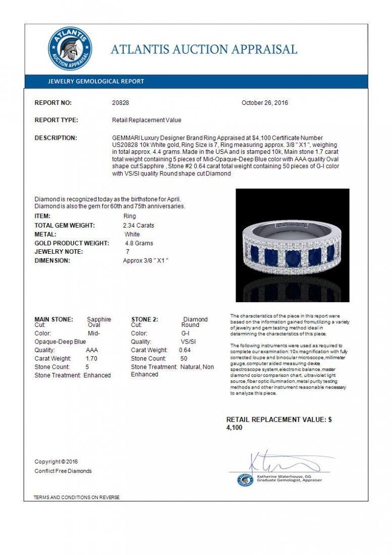2.34 CTW Sapphire & Micro Pave Diamond Inspired Ring - 3