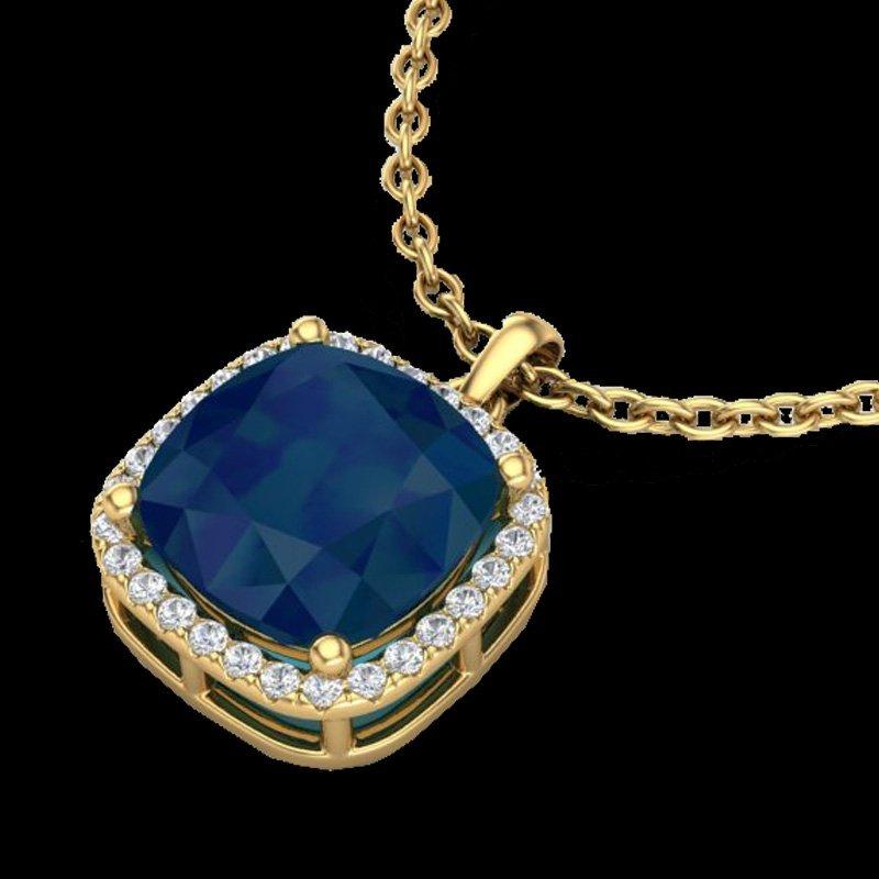 6 CTW Sapphire & Micro Pave Halo Diamond Necklace 18K