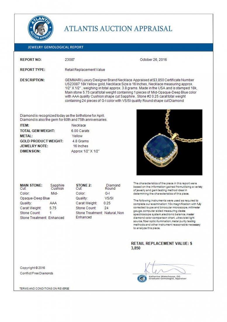 6 CTW Sapphire & Micro Pave Halo Diamond Necklace 18K - 3